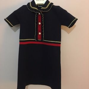 Gucci Web-Trim Dress w/ GG Glass Pearls